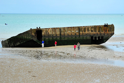 Remains of the Mulberry Harbor at Omaha Beach, June 1944