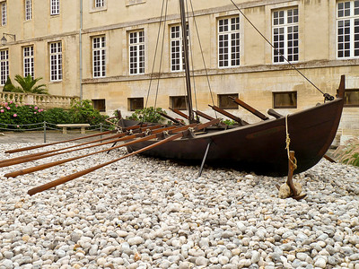 Viking longship in front of the Bayeux museum