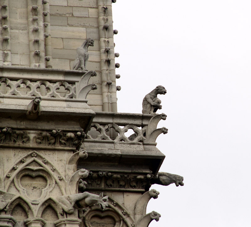 Gargoyles on Notre Dame church at max telephoto (180mm) plus a bit of cropping.