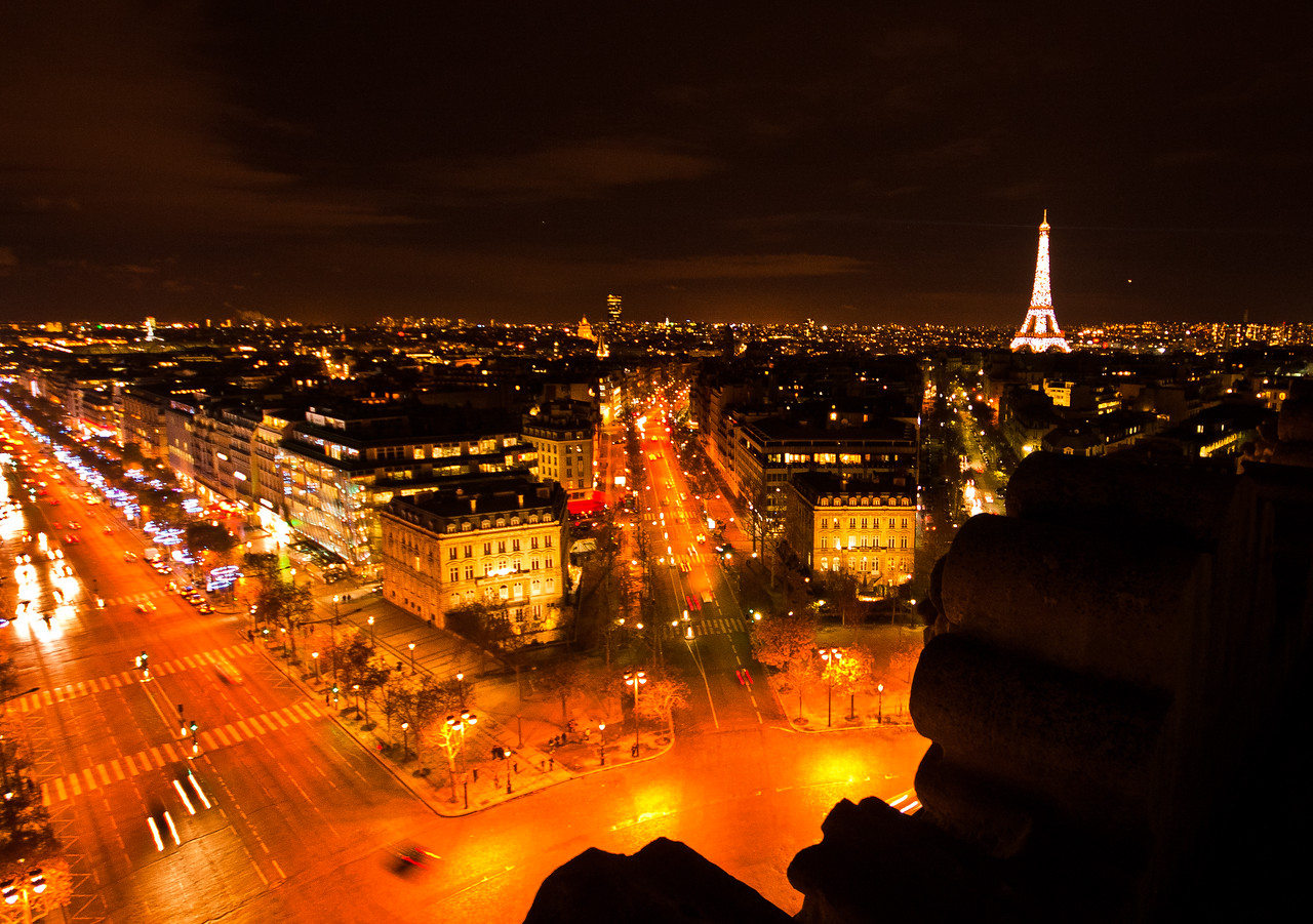 The Eiffel Tower from the Arc de Triomphe, Paris