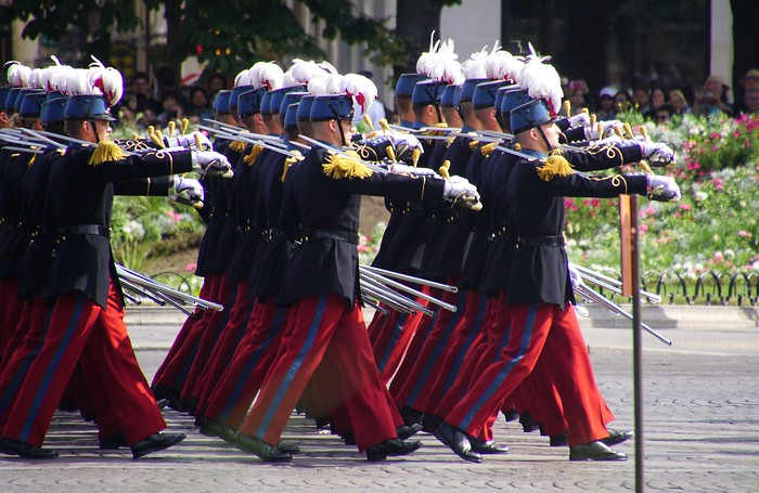 The military parade on Bastille Day in Paris