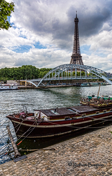 Eiffel Tower across the Seine River <br /> & Passerelle Debilly Bridge