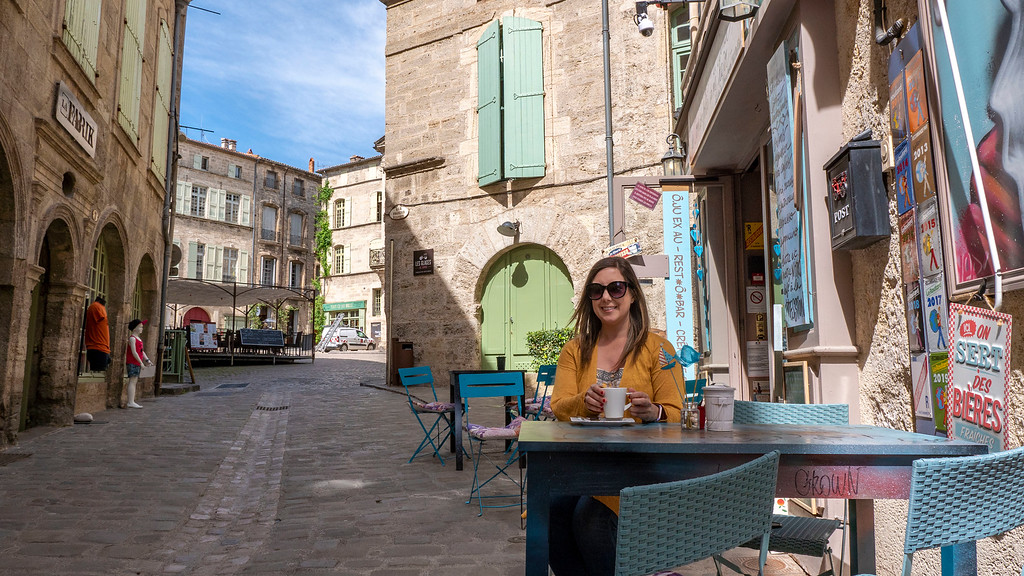 Pezenas in the South of France: Old Town Coffee Shop Patio