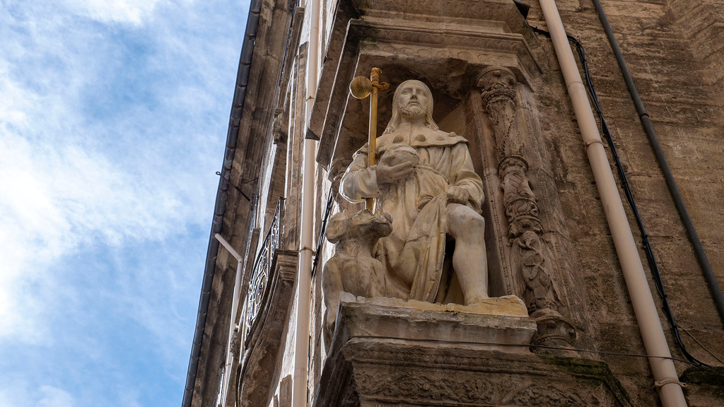 Pezenas in the South of France: Old Town St Roch statue