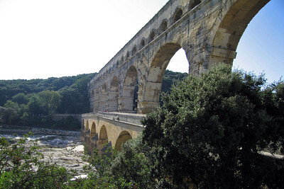 Pont du Gard: aquaduct built by Romans in the 1st century B.C.