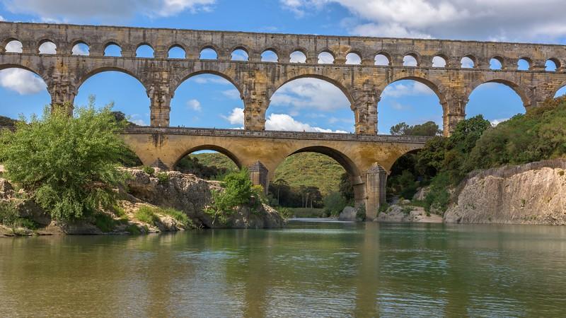 Three Story Aqueduct Over Gardon River