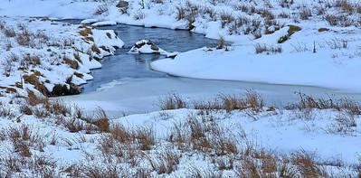 aubrac, ruisseau, glace