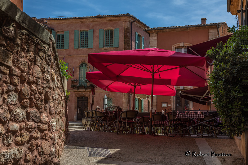 Red Umbrellas Outside Bistro