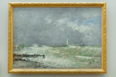 Le Havre - Musée Malraux - Les jetées du Havre par gros temps (Eugène Boudin - 1895)
