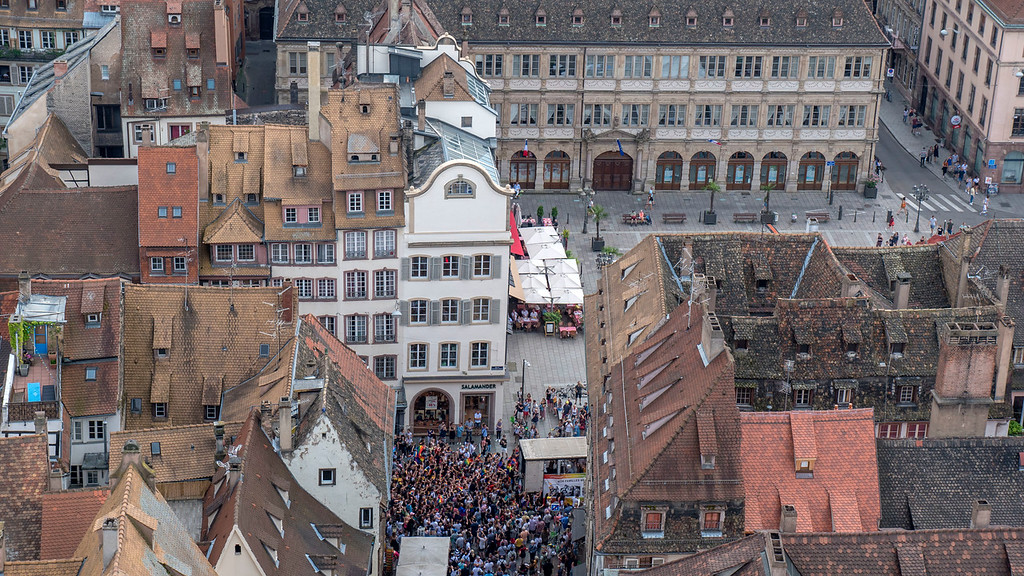 Top Things to do in Strasbourg France: Strasbourg Gay Pride from the Cathedral