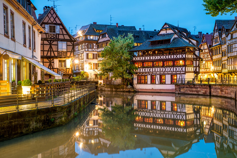 Quaint timbered houses of Petite France in Strasbourg, France. Franch traditional houses at Strasbourg, France.