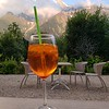 Emjoying the first of many Aperol Spritzes on the back deck of our Les Houches hotel
