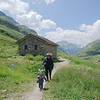 More walking for Oscar after lunch on the way to Refuge Les Mottets