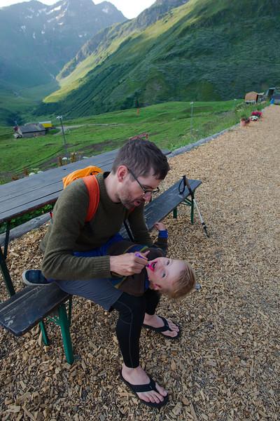Teeth brushing routine at Alpage de la Peule
