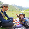 Picnic lunch as we wait for our room at Rifugio Elena