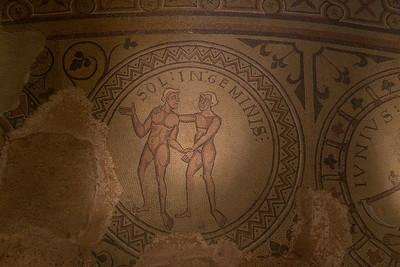 "Mosaic depicting the zodiak sign ""Gemini.""  Abbaye de Saint-Philibert, Tournus."