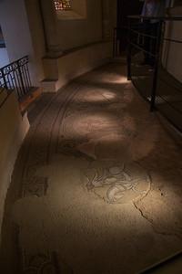 Mosaics depicting zodiac signs and the months of the year.  Abbaye de Saint-Philibert, Tournus.