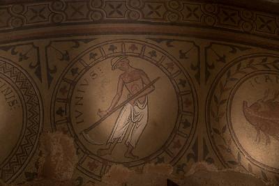 Mosaic depicting the reaping done in the month of June.  Abbaye de Saint-Philibert, Tournus.