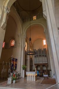 Abbaye de Saint-Philibert, Tournus.  Crossing and south transcept.  The choir organ is a Cavaillé-Coll.