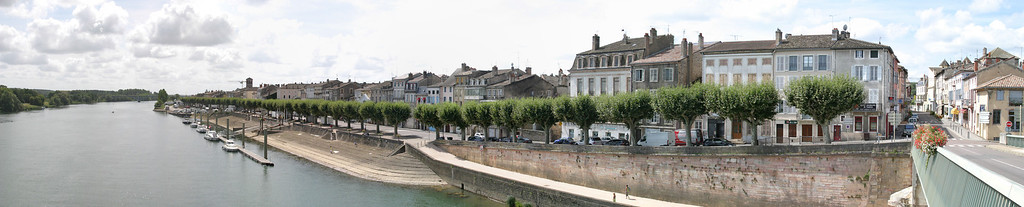 View of the waterfront of Tournus and the Saône river.