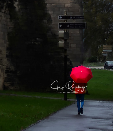 """Avignon 2019 - Red Umbrella On A Rainy Day In Southern France"""