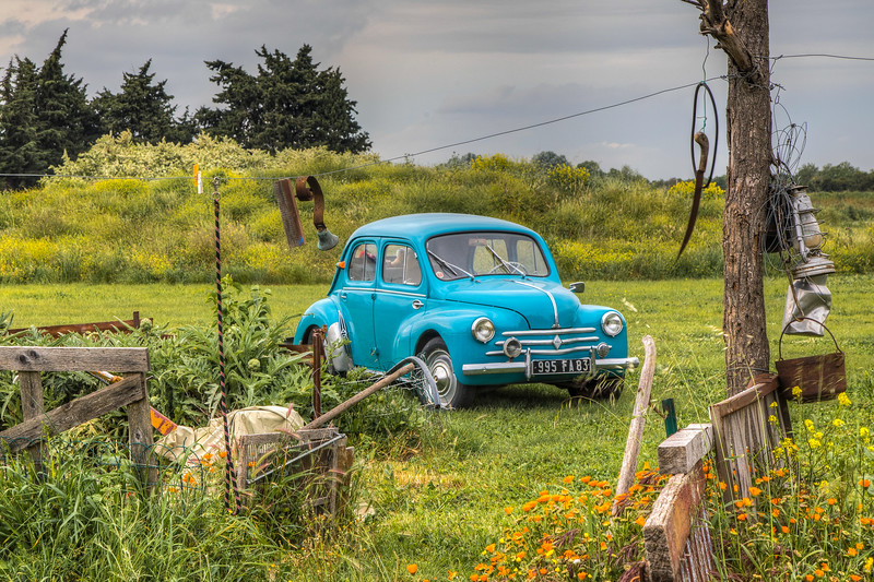Renault 4CV in a field, Arles, Provence Region, France