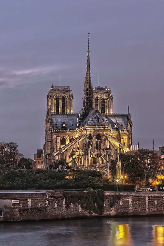 Night View of Notre Dame Cathedral in Paris