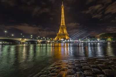 Eiffel Tower, seen from across Seine River, on my first night in Paris, France