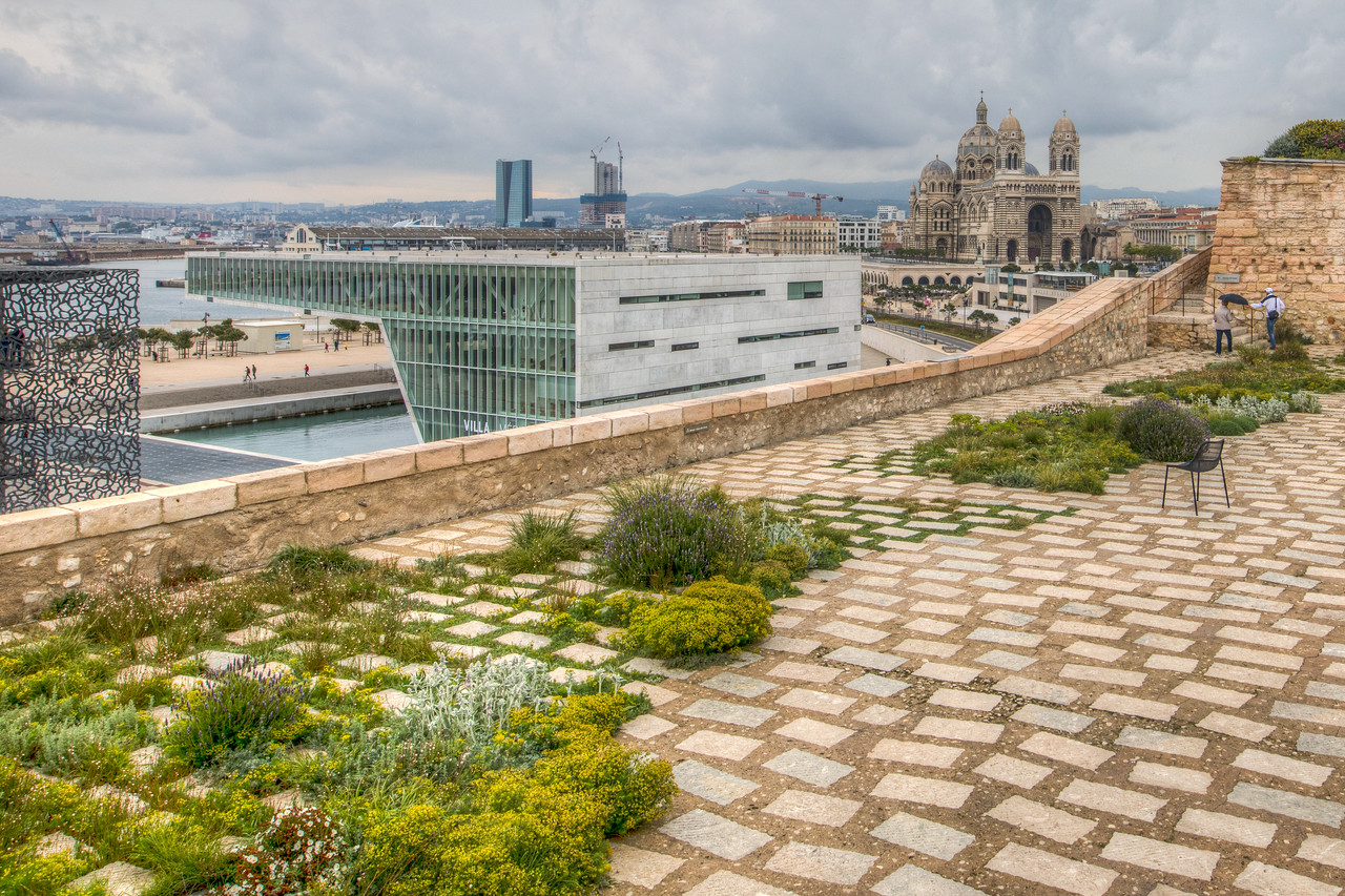 Old Fort with some new architecture, Marseille, Provence Region, France
