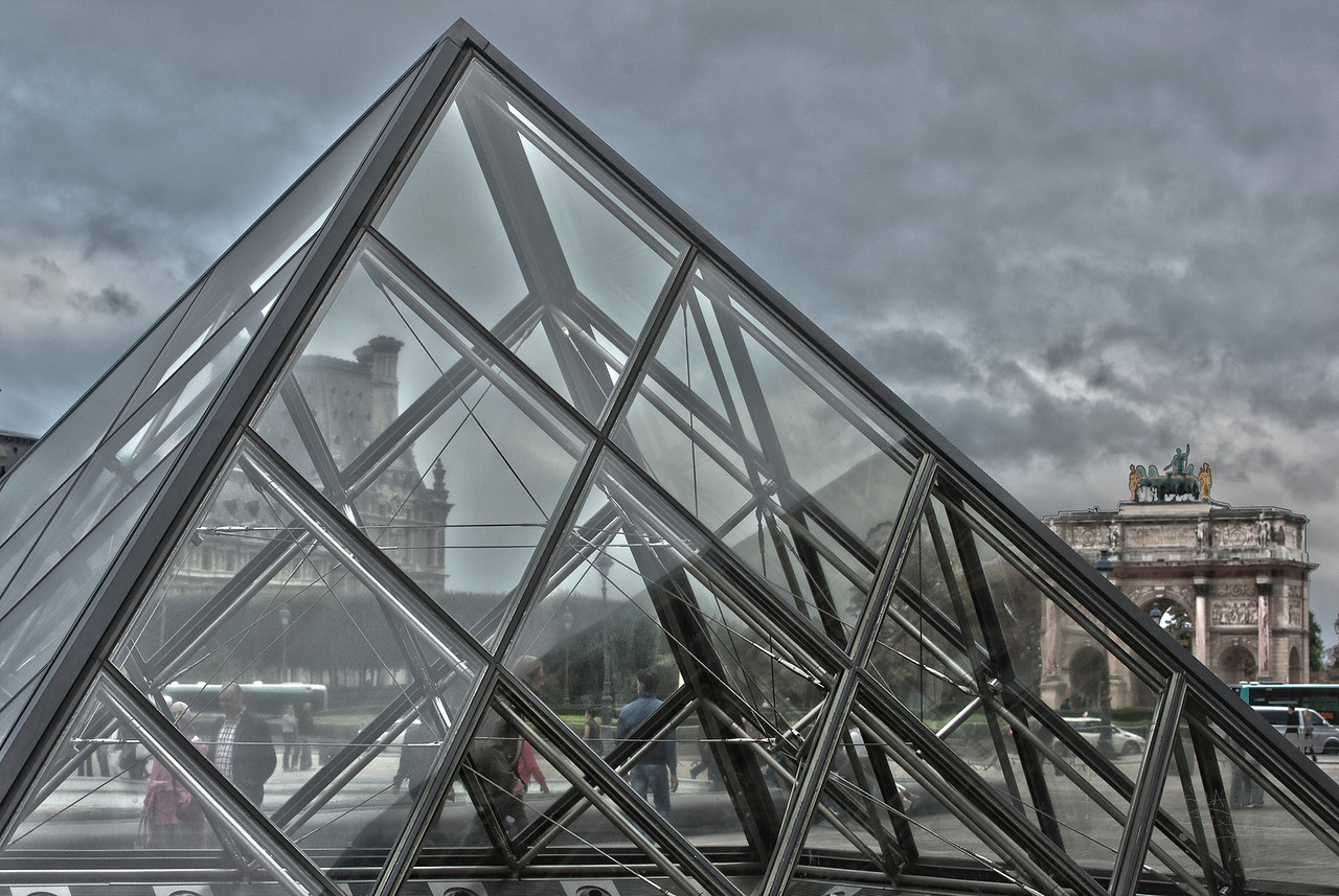 The Louvre and Arc du Carousel looking through the glass pyramid in Paris, France