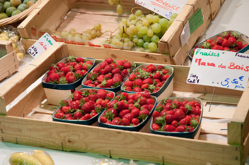 Strawberries at the market in Nimes, Paris