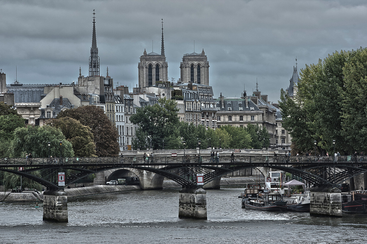 Panorama of the River Seine in front of Notre Dame Cathedral in Paris, France