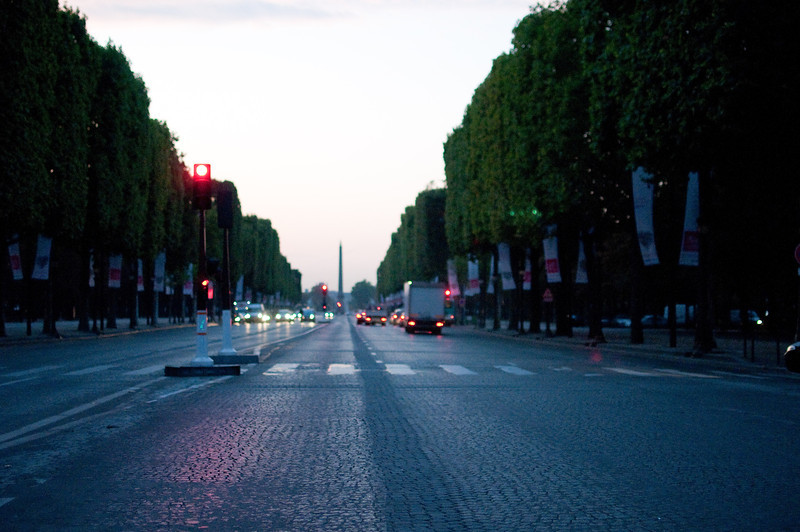 Champs-Elysee at dawn, towards the Obelisk at Place de la Concorde, Paris