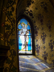 Stained Glass Window - Chapel in Lourdes, France