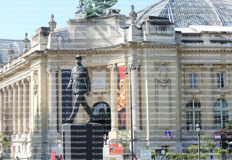 Statue of Charles de Gaulle, past President and Statesman of France stands 25 feet above the Champs-Elysees at the Grand Palais.