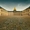 Les Invalides paved baskyard, Paris, Ile de France, France