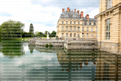 Beautiful reflections of the Palace du Fontainebleau in Fontainebleau, France,