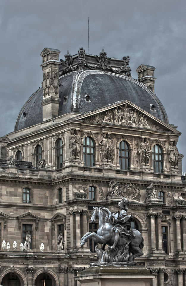 Statue in front of the Louvre Museum in Paris, France