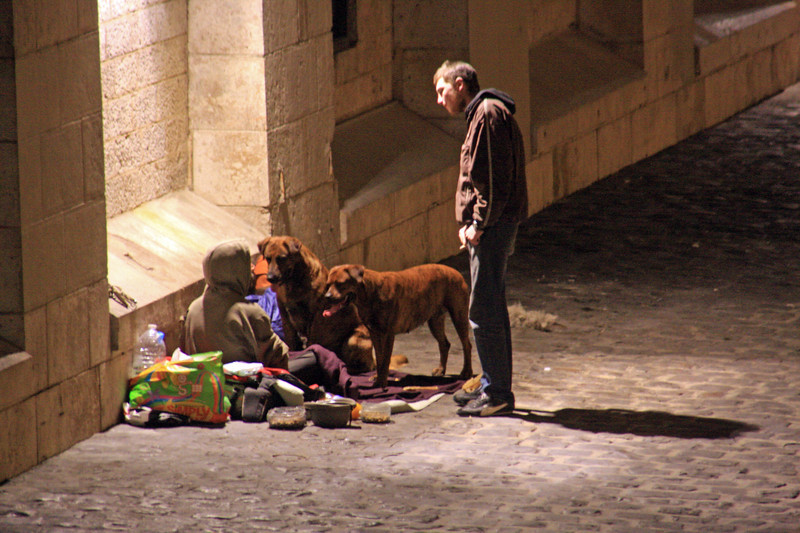 Homeless along the Seine, Paris, France
