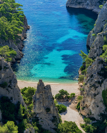 Morning view without people at Calanque d'En-Vau in Parc national des Calanques