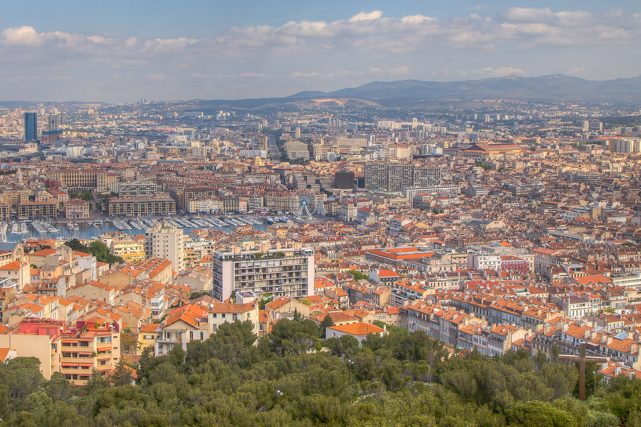 Shot from Notre-Dame de la Garde Basicila property, Marseille, France (Looking towards Old Harbor)