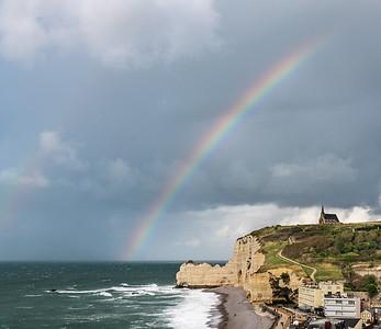 Etretat cliffs and rainbow