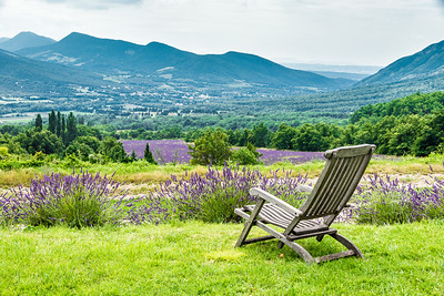 Relaxing chair facing the lavender fields