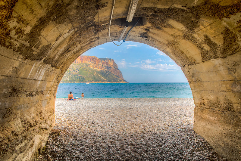 Tunnel to beach at Mediterranean Sea, Cassis, Provence Region, France