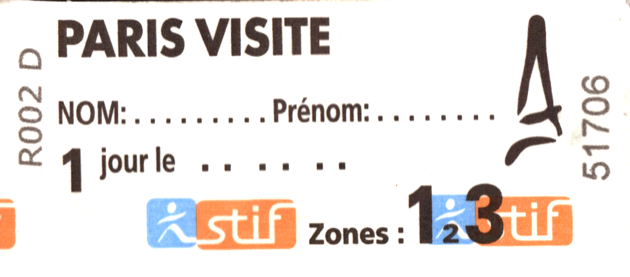Thiis is one of the two Metro ticket we get with our Paris Pass package
