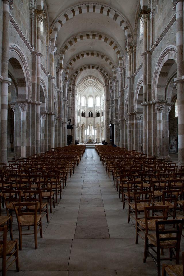Vezelay Sainte-Madeleine Abbey Nave and Choir