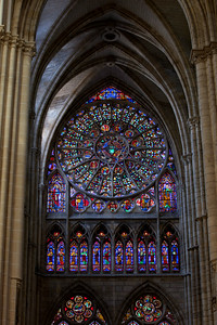 Chalons-en-Champagne Cathedral - The North Rose Window and Vaults