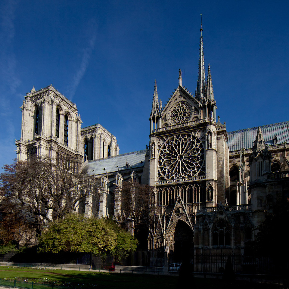 Paris, Notre-Dame Cathedral  West Facade Towers and South Transept