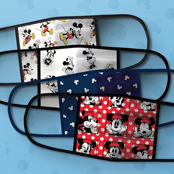 Mickey and Minnie Mouse Cloth Face Masks 4-Pack Set - Pre-Order