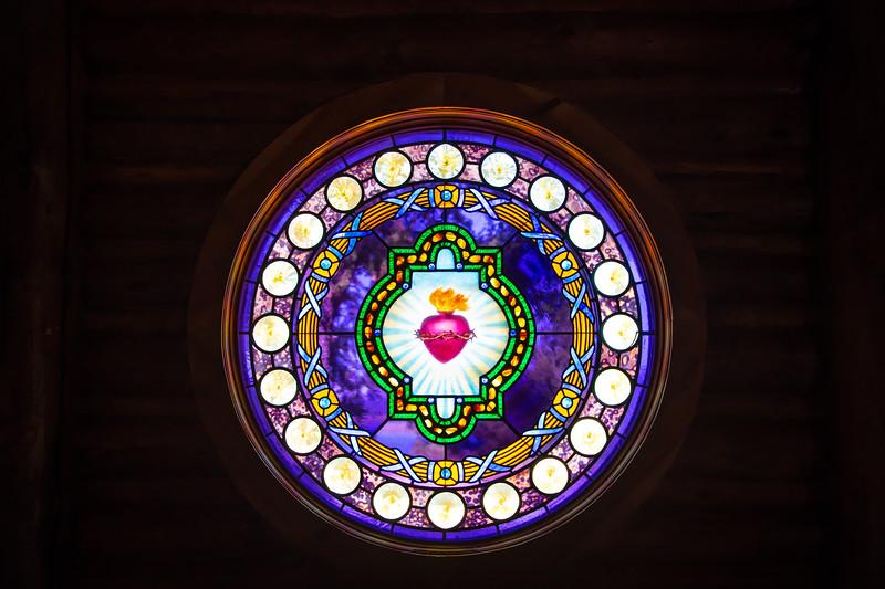 Stain Glass Window, Small Church on Tetons NP Loop Drive.